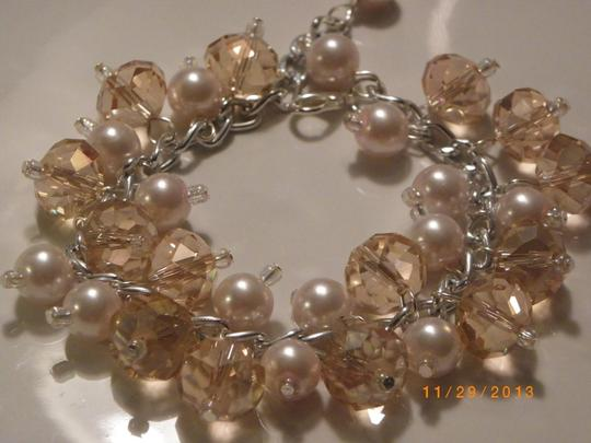 Other pink pearl crystal glass Cluster bracelet, bridesmaid bracelet