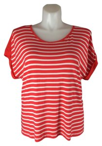 Christian Siriano Chiffon Yoke Stretchy Runway Style T Shirt Red and White
