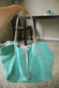 Tiffany & Co. Suede Leather Metallic Tote in Tiffany Blue & Silver