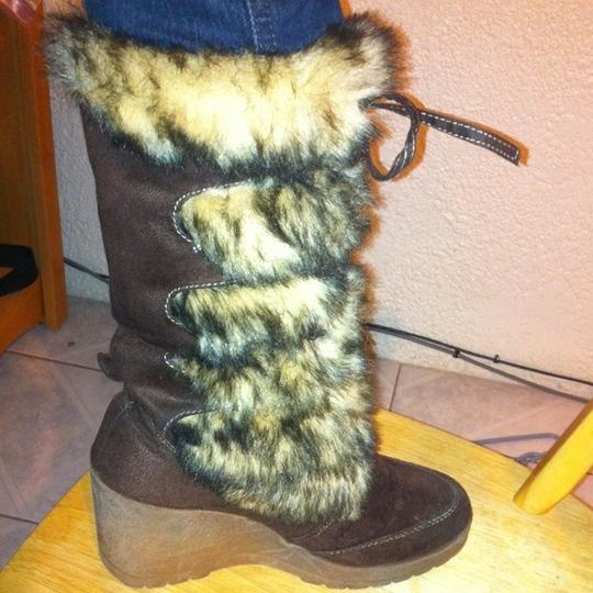 Soda Blu Faux Fur Mid Thigh Brown Boots