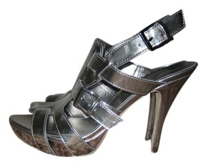 Guess By Marciano Patent Leather Strappy Pewter Sandals