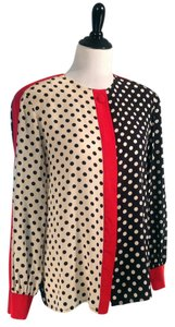 Adrianna Papell 100% Round Neckline Hidden Button Front Closeout! Top Closeout! MultiColor Silk Blouse