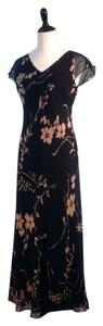 Ann Taylor Cap Sleeve 100% Silk Pattern Tea Length Dress