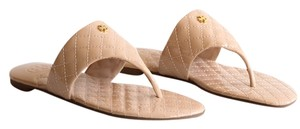 Tory Burch Kent Quilted Patent Leather Flat Thong Light Oak Sandals