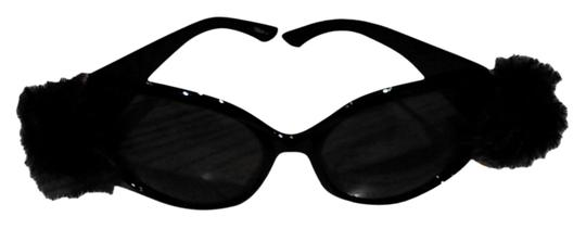 Tracey Vest Black faux fur embellished black sunglasses