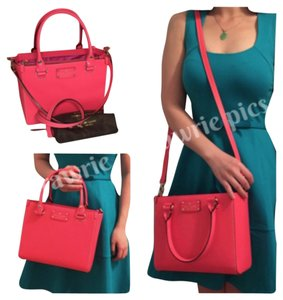 Kate Spade New Wellesley Small Quinn Classic Logo Structured Square Hot Rose Leather Satchel Tote Handbag Purse Shoulder Work Cross Body Bag