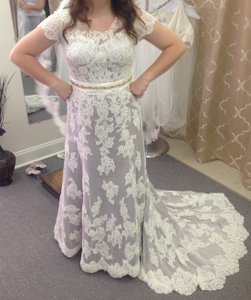 Carrafina Carrafina A110-2 Lace Dress In Taupe With Sleeves Vintage Inspired All Lace Wedding Dress