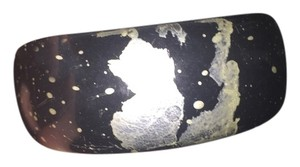 The Limited Black Acrylic Bracelet with Metallic Paint Splatters
