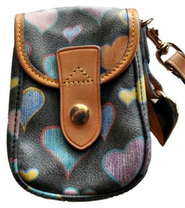 Dooney & Bourke Hearts Leather Wristlet in Black Rainbow