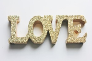 Glittered Gold Love Sign