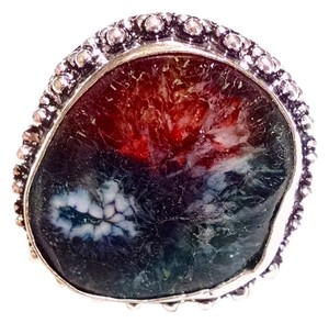 New Agate Rainbow Druzy Gemstone Ring Size 8 Large Stone 925 Silver J1125