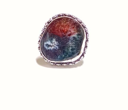 Other New Agate Rainbow Druzy Gemstone Ring Size 8 Large Stone 925 Silver J1125