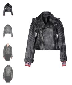 Marc by Marc Jacobs Biker Leather Tartan Red Leather Jacket