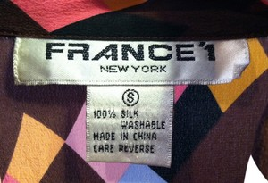 France '1 100% Washable Top Mulit-color Harlequin 100% Silk Blouse