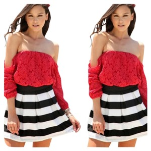 Other Boho Sexy Off Crop Chiffon Top Red