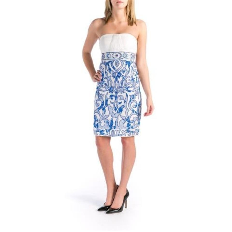 Sue wong white blue n110 knee length cocktail dress size 6 s tradesy ombrellifo Choice Image