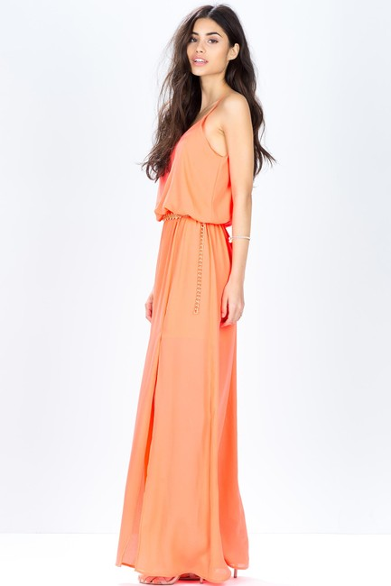 Neon Coral Maxi Dress by Other