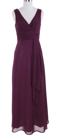 Purple Chiffon Long Draping V-neck Size:large Formal Bridesmaid/Mob Dress Size 12 (L)