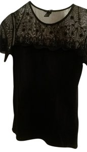 H&M Sheer Lace Top Black