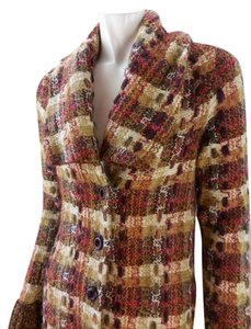 Anthropologie Tweed Wool Chunky Knit Trench Button Charlie & Robin Trench Coat