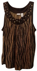 Kim Rogers Top Light & Chocolate Brown Print 1x