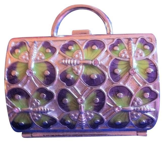 Item - Silver/Purple/Green From Nieman Marcus Ring/Earring Holder/Case Has Butterflies with Green/Purple Rhinestones With