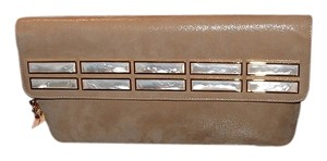 Judith Leiber Mother Of Pearl camel Clutch