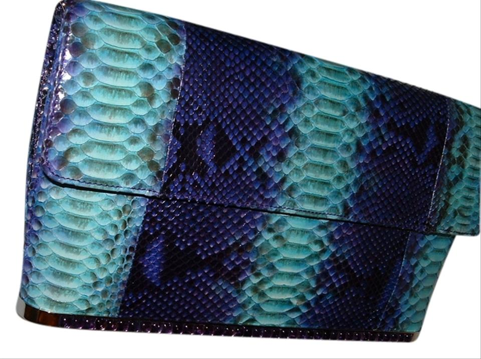 Painted Leiber Clutch Snake Turquose Purple Judith Python Skin SqHH6