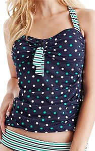 Tommy Bahama Tommy Bahama Dots & Stripes Twist-Front Tankini Top~Sz L