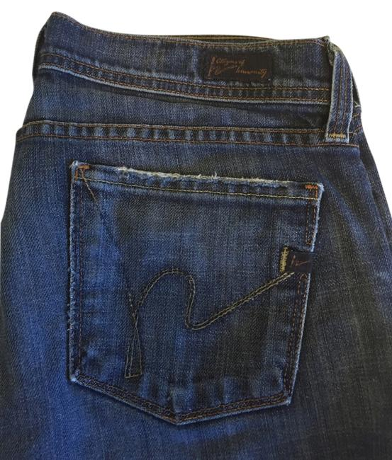 Item - Blue Distressed Ingrid Stretch Low Rise Flair Boot Cut Jeans Size 30 (6, M)