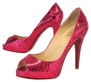 Christian Louboutin Galaxy Metallic Pink Peep Toe Pumps