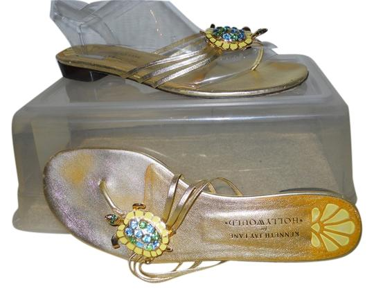 Kenneth Jay Lane Leather Thong Crystal Turtle gold Sandals
