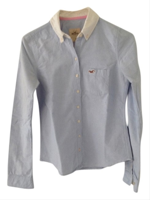 Hollister Oxford Fashion Like New Button Down Shirt Blue and white