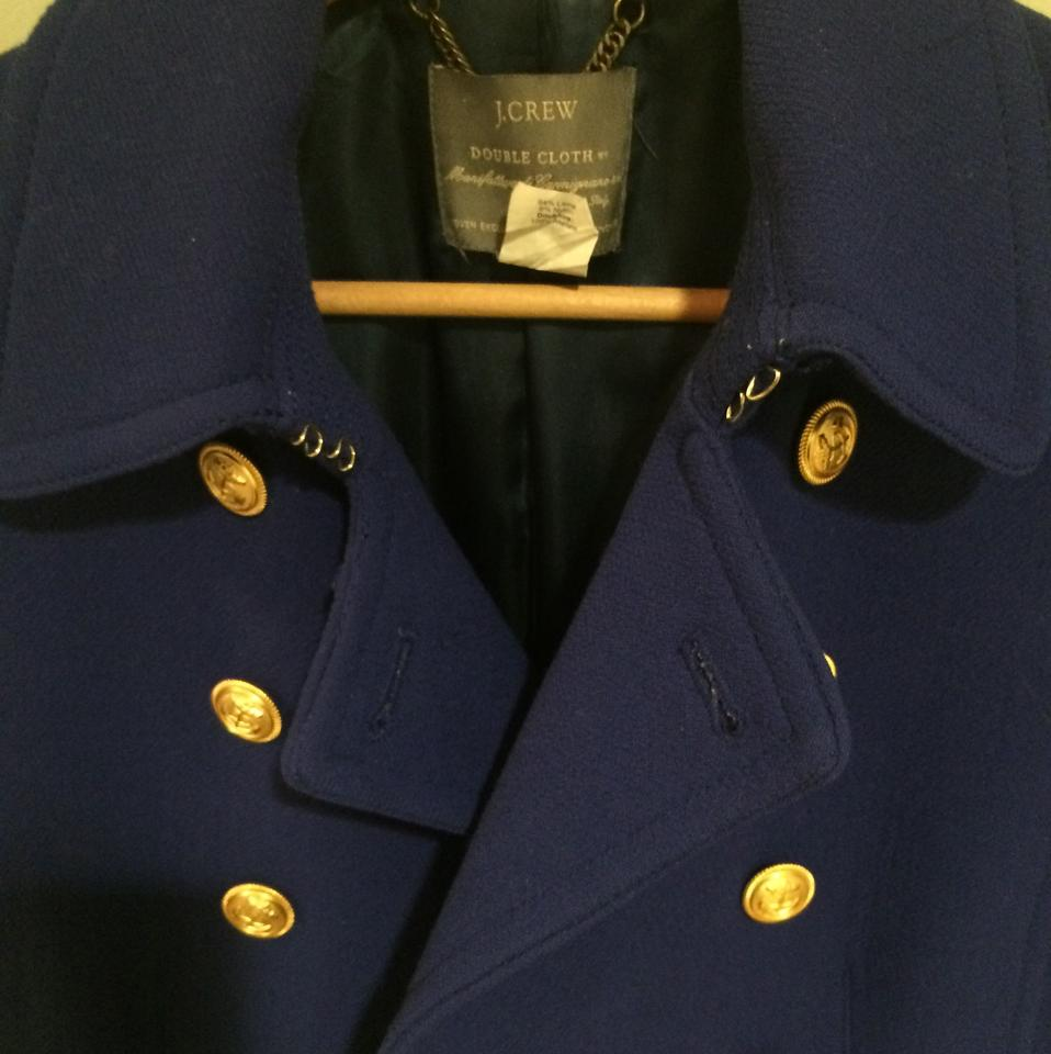 J Crew Royal Blue Gold Buttons Military Style Coat Size 8 (M)