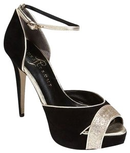 Ivanka Trump Black Suede & Gold Glittered Pumps