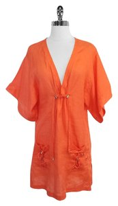 Diane von Furstenberg Orange Linen Short Sleeve Coverup