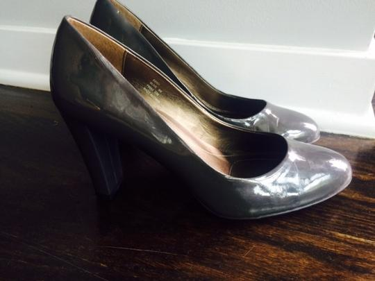 Calvin Klein Patent Leather Round Toe Grey Pumps