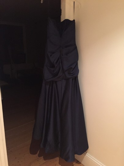 Amsale Navy Blue Polyester Gown Formal Bridesmaid/Mob Dress Size 10 (M)
