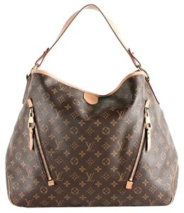 Louis Vuitton Leather Delightful Gm Tote in Monogram classic brown