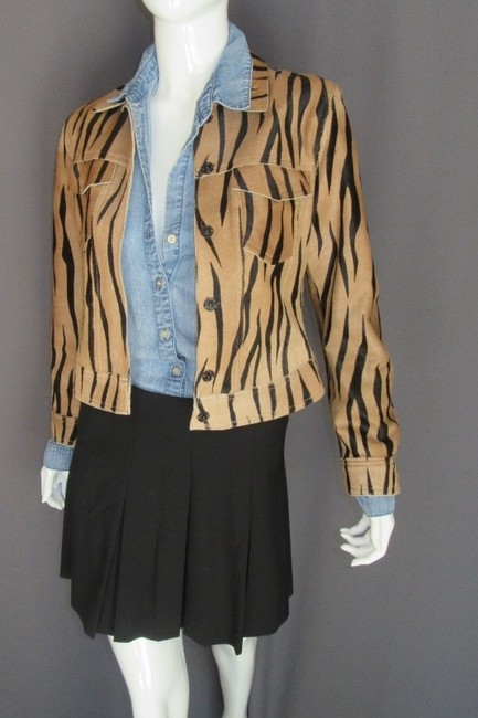 Andrew Marc Leopard Tiger Calf Hair Motorcycle Jacket