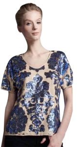 Neiman Marcus Sequins Colorblock Scoop Polyester Floral Top blue, tan