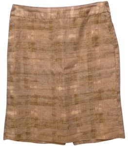 Ann Taylor LOFT Straight Linen Knee Length Skirt beige