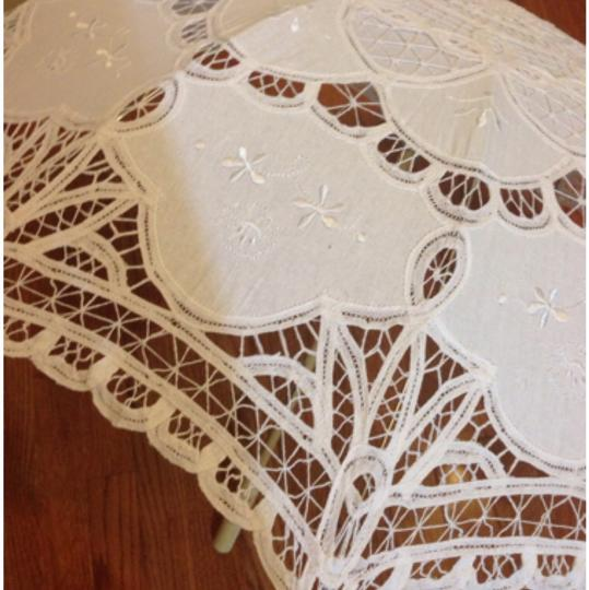 Ivory Handmade Cotton Umbrella Embroidered Lace Other