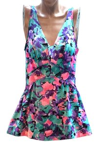 Maxine of Hollywood Maxine of Hollywood One Piece Skirt Bathing Suit Vintage Swimwear Floral Pink