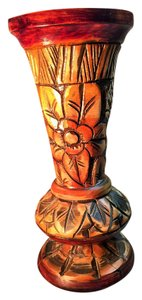 Other Antique Wood Vase; Carved African Cherry [ SisterSoul Closet ]