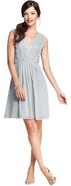 Item - Gray Silk Georgette Pleated Lace Sleeveless Knee Length Formal Dress Size 10 (M)