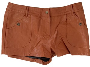 Lucca Couture Leather Vegan Leather Mini/Short Shorts Saddle Tan