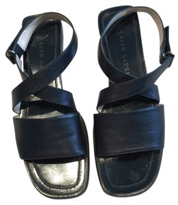 Ralph Lauren Leather Leather Leather Size 7.5 Size 7.5 Ankle Strap Black Sandals