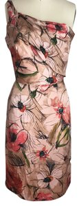 Alberta Ferretti Sheath One Guest Attire Silk Semi Formal Short Party Pink Cocktail Draping Ruched Dress