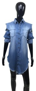 Other short dress blue Denim Jean Button Up Long Sleeve on Tradesy